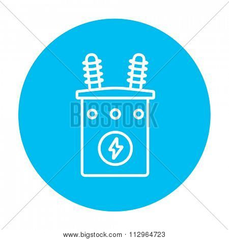 High voltage transformer line icon for web, mobile and infographics. Vector white icon on the light blue circle isolated on white background.