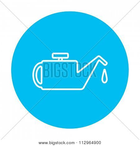 Oiler line icon for web, mobile and infographics. Vector white icon on the light blue circle isolated on white background.