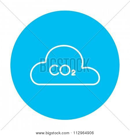 CO2 sign in cloud line icon for web, mobile and infographics. Vector white icon on the light blue circle isolated on white background.
