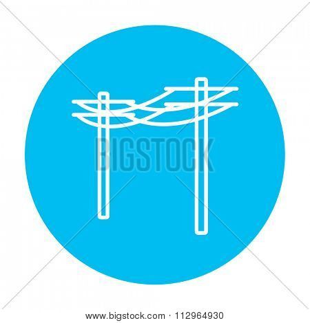 High voltage power lines line icon for web, mobile and infographics. Vector white icon on the light blue circle isolated on white background.