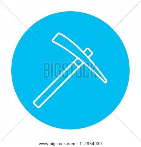 Pickax line icon for web, mobile and infographics. Vector white icon on the light blue circle isolated on white background.