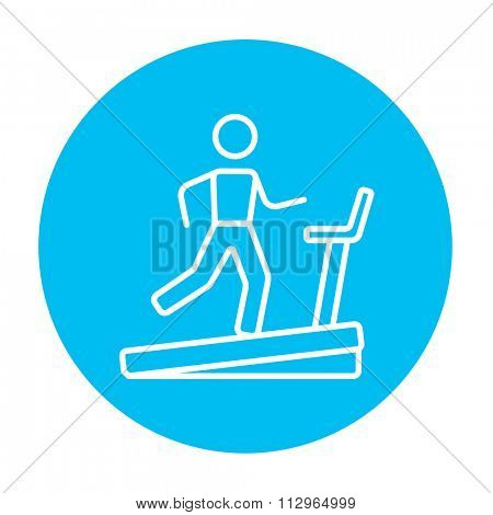 Man running on a treadmill line icon for web, mobile and infographics. Vector white icon on the light blue circle isolated on white background.