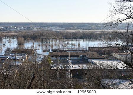 VALLEY PARK, MO/USA  JANUARY 1, 2016: Flood waters near the Meramec River flood nearby businesses in old town Fenton.