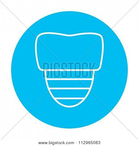 Tooth implant line icon for web, mobile and infographics. Vector white icon on the light blue circle isolated on white background.