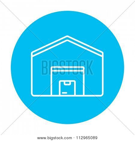Warehouse line icon for web, mobile and infographics. Vector white icon on the light blue circle isolated on white background.