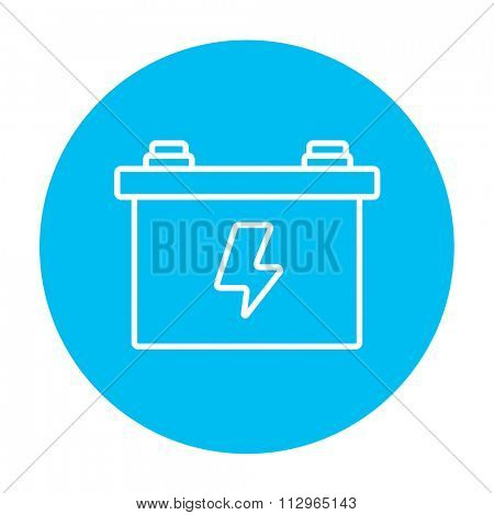 Car battery line icon for web, mobile and infographics. Vector white icon on the light blue circle isolated on white background.