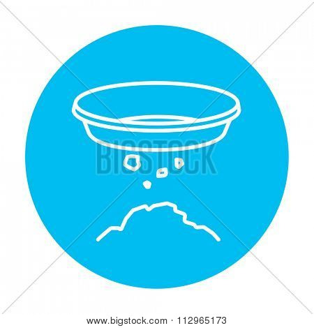 Bowl for sifting gold line icon for web, mobile and infographics. Vector white icon on the light blue circle isolated on white background.