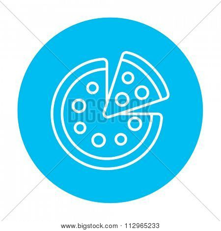 Whole pizza with a slice line icon for web, mobile and infographics. Vector white icon on the light blue circle isolated on white background.