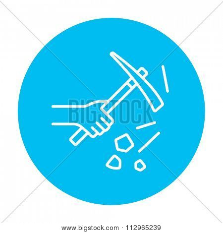 Hand using pickax line icon for web, mobile and infographics. Vector white icon on the light blue circle isolated on white background.