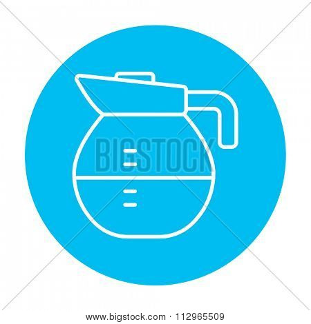 Carafe line icon for web, mobile and infographics. Vector white icon on the light blue circle isolated on white background.