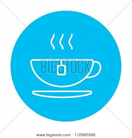 Hot tea in a cup line icon for web, mobile and infographics. Vector white icon on the light blue circle isolated on white background.