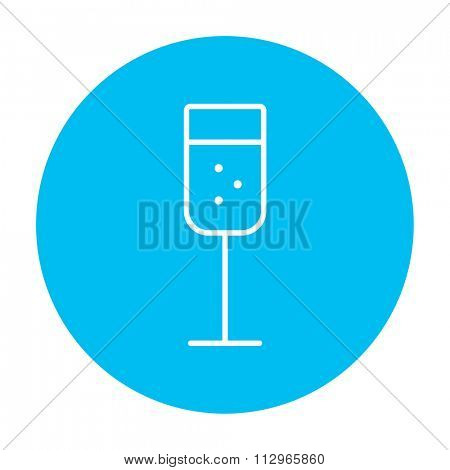 Glass of champagne line icon for web, mobile and infographics. Vector white icon on the light blue circle isolated on white background.