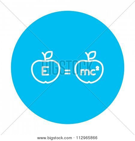 Two apples with formulae line icon for web, mobile and infographics. Vector white icon on the light blue circle isolated on white background.
