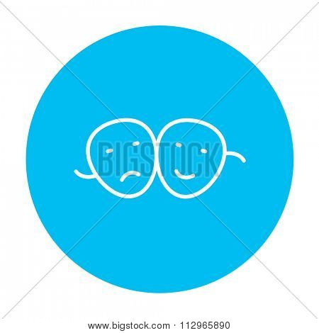 Two theatrical masks line icon for web, mobile and infographics. Vector white icon on the light blue circle isolated on white background.