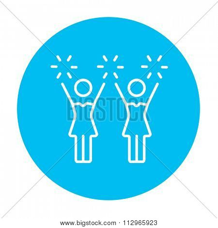 Cheerleaders line icon for web, mobile and infographics. Vector white icon on the light blue circle isolated on white background.