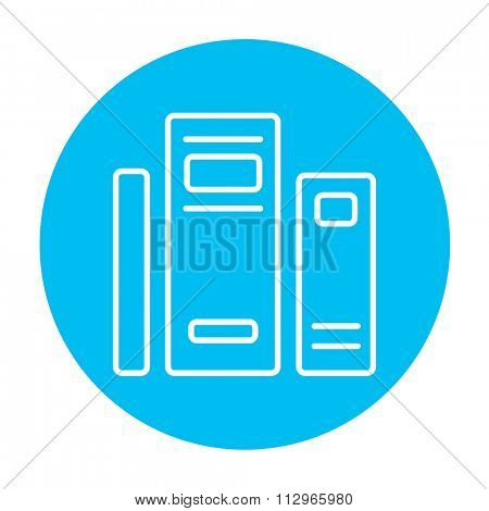 Books line icon for web, mobile and infographics. Vector white icon on the light blue circle isolated on white background.