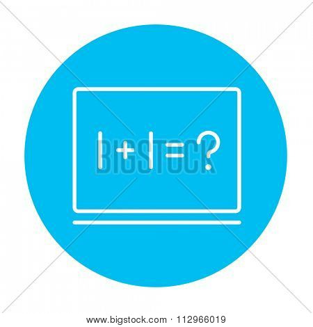 Maths example written on blackboard line icon for web, mobile and infographics. Vector white icon on the light blue circle isolated on white background.