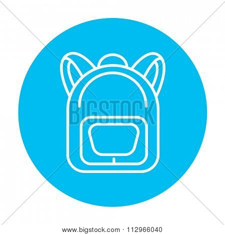 Backpack line icon for web, mobile and infographics. Vector white icon on the light blue circle isolated on white background.