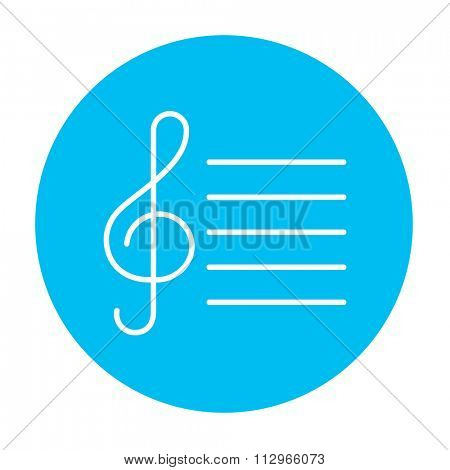 Treble clef line icon for web, mobile and infographics. Vector white icon on the light blue circle isolated on white background.