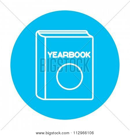 Yearbook line icon for web, mobile and infographics. Vector white icon on the light blue circle isolated on white background.