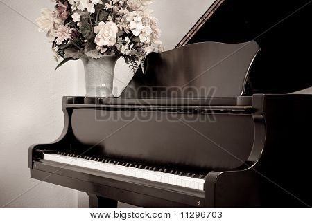 Aged Photo Of Grand Piano