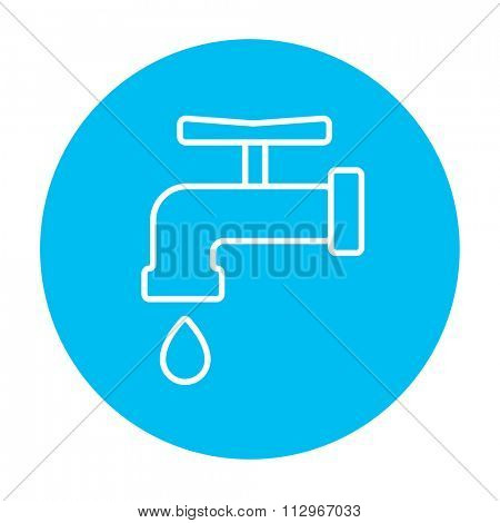 Faucet with water drop line icon for web, mobile and infographics. Vector white icon on the light blue circle isolated on white background.