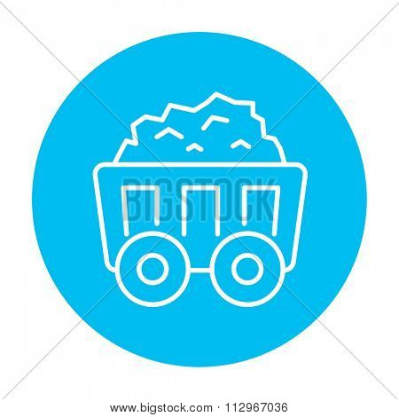 Mining coal cart line icon for web, mobile and infographics. Vector white icon on the light blue circle isolated on white background.