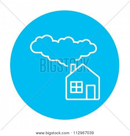 House with a chimney and smoke line icon for web, mobile and infographics. Vector white icon on the light blue circle isolated on white background.