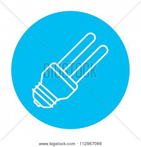 Energy saving light bulb line icon for web, mobile and infographics. Vector white icon on the light blue circle isolated on white background.