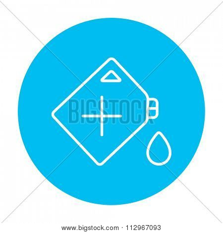 Gas container line icon for web, mobile and infographics. Vector white icon on the light blue circle isolated on white background.