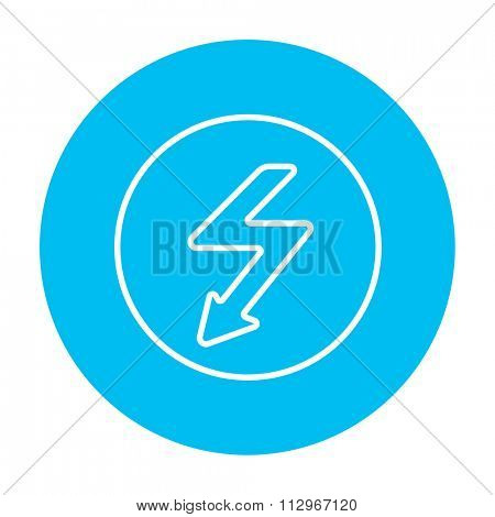 Lightning arrow going down inside circle line icon for web, mobile and infographics. Vector white icon on the light blue circle isolated on white background.