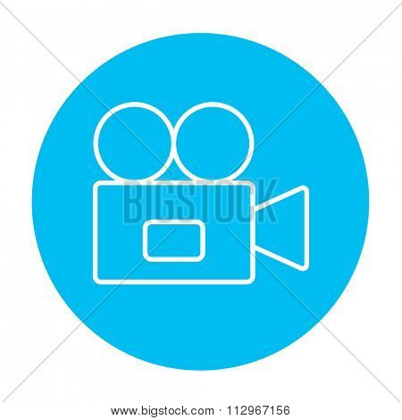Video camera line icon for web, mobile and infographics. Vector white icon on the light blue circle isolated on white background.