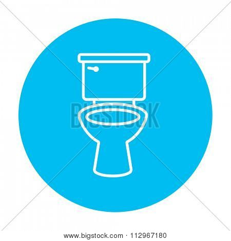 Lavatory bowl line icon for web, mobile and infographics. Vector white icon on the light blue circle isolated on white background.