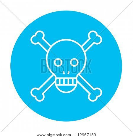 Skull and cross bones line icon for web, mobile and infographics. Vector white icon on the light blue circle isolated on white background.