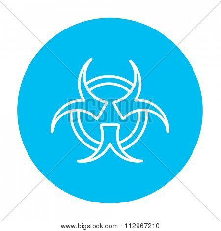 Bio hazard sign line icon for web, mobile and infographics. Vector white icon on the light blue circle isolated on white background.