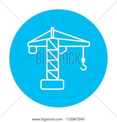 Construction crane line icon for web, mobile and infographics. Vector white icon on the light blue circle isolated on white background.