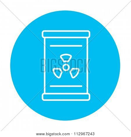 Barrel with ionizing radiation sign line icon for web, mobile and infographics. Vector white icon on the light blue circle isolated on white background.