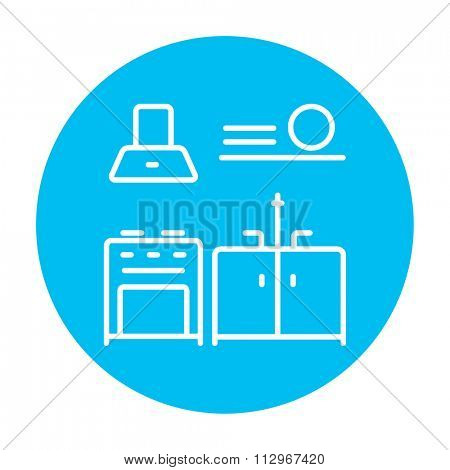 Kitchen interior line icon for web, mobile and infographics. Vector white icon on the light blue circle isolated on white background.