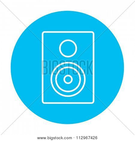 MP3 player line icon for web, mobile and infographics. Vector white icon on the light blue circle isolated on white background.