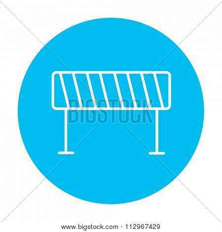 Road barrier line icon for web, mobile and infographics. Vector white icon on the light blue circle isolated on white background.