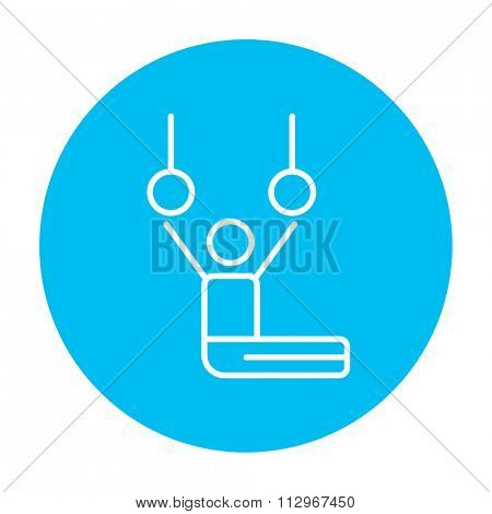 Gymnast performing on stationary rings line icon for web, mobile and infographics. Vector white icon on the light blue circle isolated on white background.
