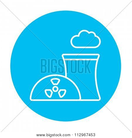 Nuclear power plant line icon for web, mobile and infographics. Vector white icon on the light blue circle isolated on white background.