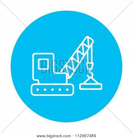 Lifting crane line icon for web, mobile and infographics. Vector white icon on the light blue circle isolated on white background.