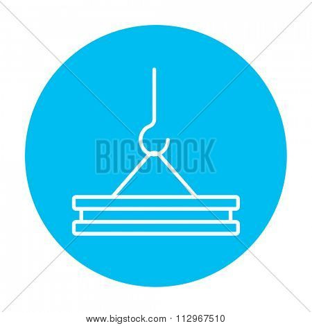 Crane hook holding concrete slab line icon for web, mobile and infographics. Vector white icon on the light blue circle isolated on white background.