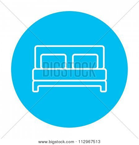 Double bed line icon for web, mobile and infographics. Vector white icon on the light blue circle isolated on white background.