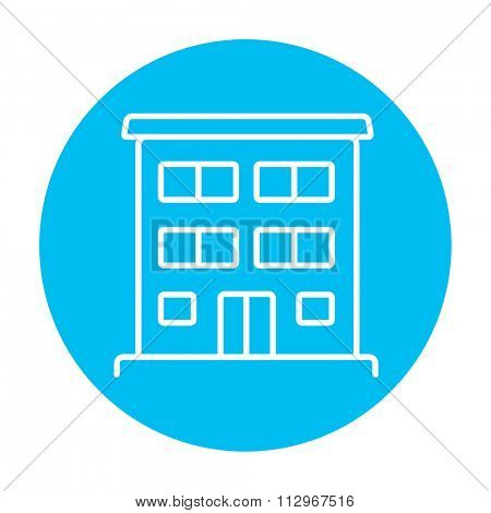 Residential building line icon for web, mobile and infographics. Vector white icon on the light blue circle isolated on white background.