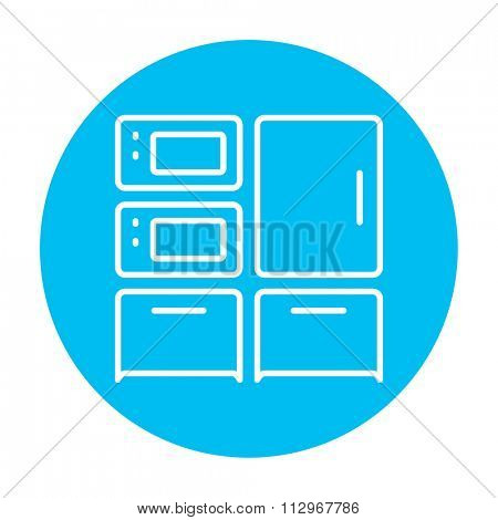 Household appliances line icon for web, mobile and infographics. Vector white icon on the light blue circle isolated on white background.