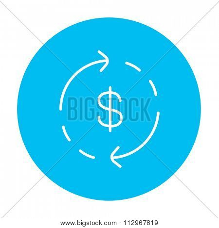 Dollar symbol with arrows around line icon for web, mobile and infographics. Vector white icon on the light blue circle isolated on white background.