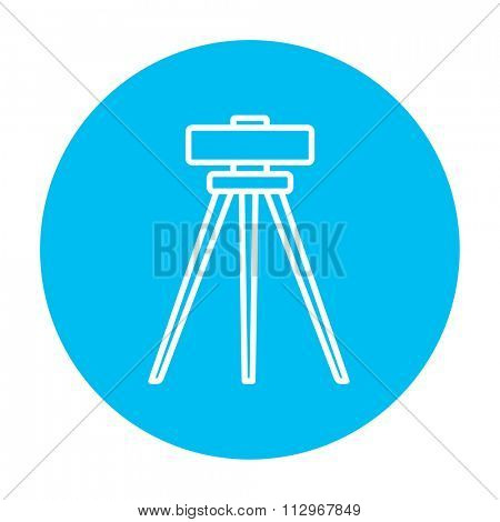 Theodolite on tripod line icon for web, mobile and infographics. Vector white icon on the light blue circle isolated on white background.