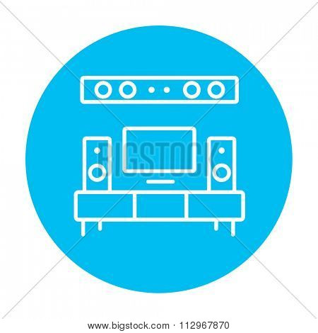 TV flat screen and home theater line icon for web, mobile and infographics. Vector white icon on the light blue circle isolated on white background.